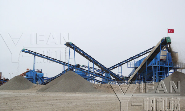 Yifan hydraulic cone crusher machine 1500T / h basalt gravel production line put into operation in Azerbaijan